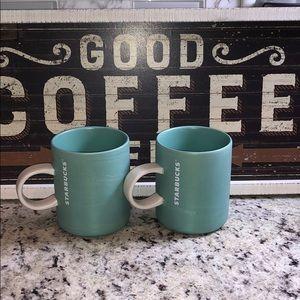 Starbucks Shimmering Teal Coffee Cups